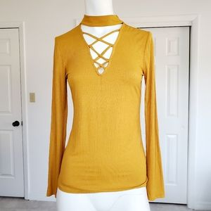 Ambiance long sleeve Yellow tops  M